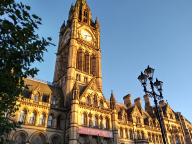 Manchester Town Hall in sunshine